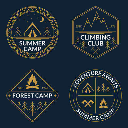 Camp set. Summer and forest camping badges. Mountain and Rock Climbing emblem. Vector illustration.