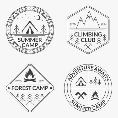 Camp icon set. Summer and forest camping badges. Mountain and Rock Climbing emblem.