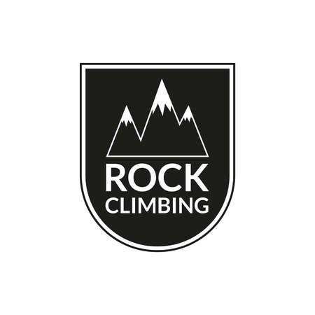 Rock Climbing emblem. Mountain badge. Camping and hiking  . Vector illustration. Ilustração