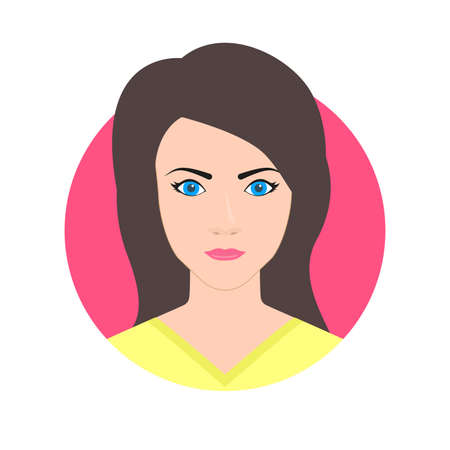 Woman face avatar. Female icon or portrait. Pretty young girl. Vector illustration.