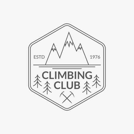 Mountain badge. Rock Climbing club emblem. Camping and hiking logo. Vector illustration.