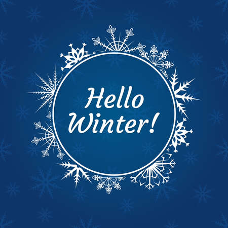 Hello winter banner with typography text and snowflakes background. Banco de Imagens - 151790840