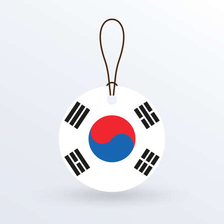 South Korea flag hanging tag. Korean round flag icon and national symbol. Vector illustration. Stock Illustratie