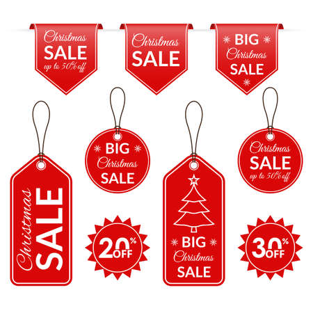Christmas sale tag, label, badge, ribbon set. Discount text for Xmas holidays. Price off signs. Vector illustration.