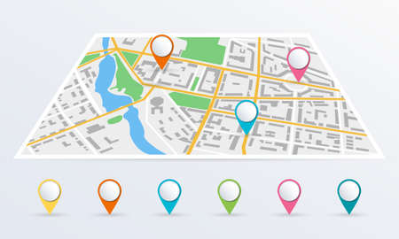 City map with colorful markers or pin pointers. Perspective map with city roads, streets and buildings. Vector illustration.