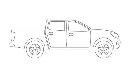 Pickup truck outline icon. Side view. Pick-up car or vehicle silhouette. Vector illustration. Ilustración de vector