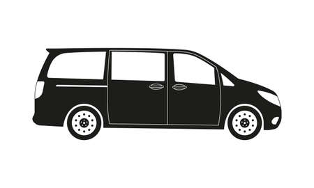 Minivan car icon. Side view. Family minibus vehicle silhouette. Black van car. Vector illustration.