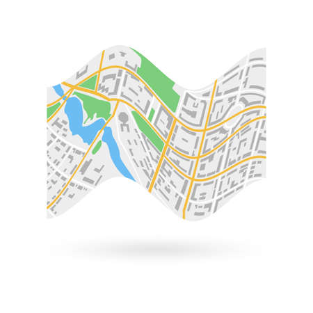 City map icon. City plan with streets, roads, parks and river. Vector illustration.