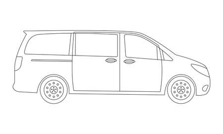 Minivan car outline icon. Side view. Family minibus vehicle silhouette. Black van car. Vector illustration.