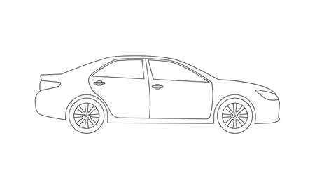Car or Vehicle outline icon. Side view. Sedan silhouette. Vector illustration.