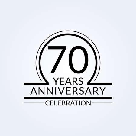 70 years anniversary logo. 70th Birthday celebration icon. Party invitation, Jubilee celebrating emblem or banner. Vector illustration. Vettoriali