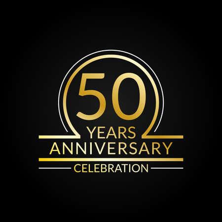 50 years anniversary logo. 50th Birthday celebration icon. Party invitation, Jubilee celebrating emblem or banner. Vector illustration.