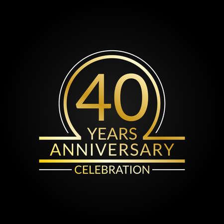 40 years anniversary logo. 40th Birthday celebration icon. Party invitation, Jubilee celebrating emblem or banner. Vector illustration.