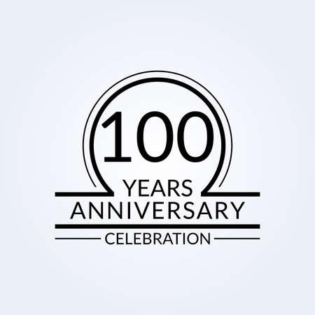 100 years anniversary logo. 100th Birthday celebration icon. Party invitation, Jubilee celebrating emblem or banner. Vector illustration.