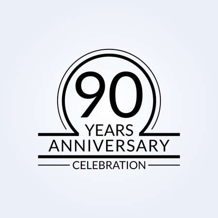 90 years anniversary logo. 90th Birthday celebration icon. Party invitation, Jubilee celebrating emblem or banner. Vector illustration. Vettoriali