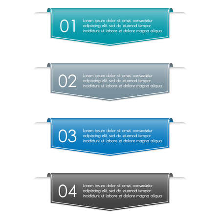 Infographic ribbon banner with 4 steps, sections, options or levels. Modern business presentation concept for brochure and web design. Vector illustration. Vecteurs