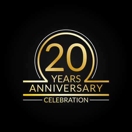 20 years anniversary logo. 20th Birthday celebration icon. Party invitation, Jubilee celebrating emblem or banner. Vector illustration. Vettoriali