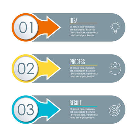 Infographics template with 3 steps, sections, options or levels. Modern business presentation concept. Vector illustration. Illusztráció