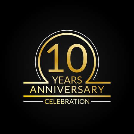 10 years anniversary logo. 10th Birthday celebration icon. Party invitation, Jubilee celebrating emblem or banner. Vector illustration.
