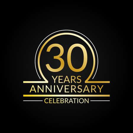 30 years anniversary logo. 30th Birthday celebration icon. Party invitation, Jubilee celebrating emblem or banner. Vector illustration.