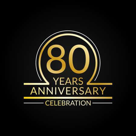 80 years anniversary logo. 80th Birthday celebration icon. Party invitation, Jubilee celebrating emblem or banner. Vector illustration.
