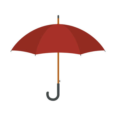 Umbrella in flat style. Red umbrella icon isolated on white background. Rain protection sign. Vector illustration.