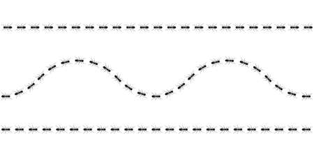 Ant trail. Ants marching or walking. Vector illustration.