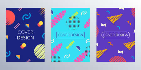 Cover design template with abstract geometric shapes. Memphis style covers. Poster, banner, brochure colorful templates. Vector illustration. Vectores