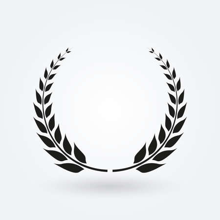 Laurel wreath icon. Award and victory symbol. Trophy and prize for winners. Vector illustration. Vettoriali