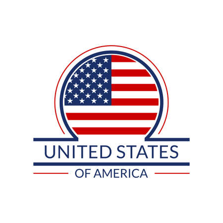 US flag icon. The United States of America circle  or badge. American round banner. Vector illustration.