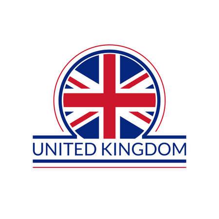 UK flag icon. The United Kingdom circle  or badge. British round banner. Union Jack flag emblem. Vector illustration. Vettoriali