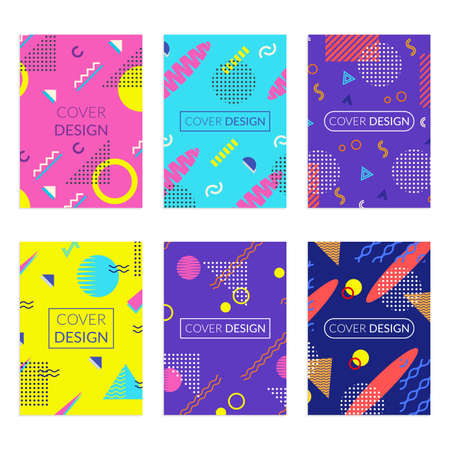 Cover design set with abstract geometric background. Memphis style covers. Poster, banner, brochure colorful templates. Vector illustration.