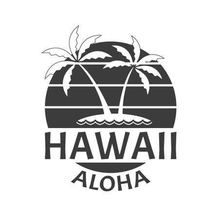 Hawaii Aloha print with beach and Palm trees. Summer and tropical badge for typography. Hawaiian emblem. Vector illustration. Vettoriali