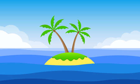 Cartoon Island with palm trees and the sandy beach banner. Tropical landscape with island, sea or ocean and sky. Vector illustration.