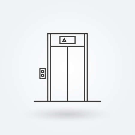 Elevator outline icon. Lift sign in the lobby or building. Vector illustration.