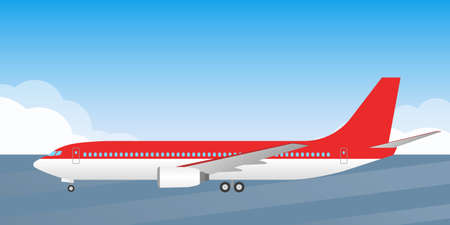 Passenger plane. Side view. Airplane is on the runway. Aircraft with wheels illustration. Vector illustration.