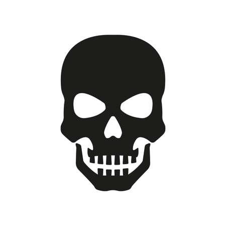 Skull icon. Black skeleton head isolated on white background. Pirate, evil, death symbol. Vector illustration. Vettoriali
