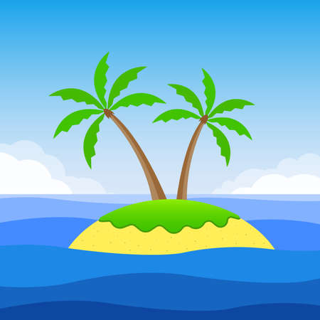 Island with palm trees and the sandy beach. Tropical landscape with island, sea or ocean and sky. Vector illustration.