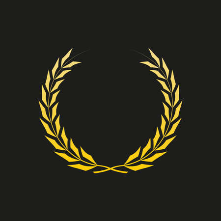 Laurel wreath icon. Golden Award and victory symbol. Trophy and prize for winners. Vector illustration.