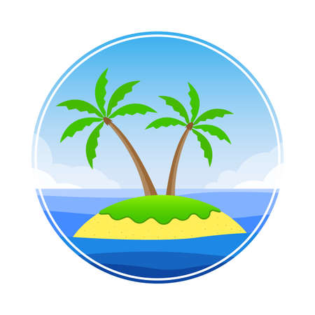 Tropical island in the ocean with palm trees, beach and sky with clouds. Vector illustration. Vettoriali