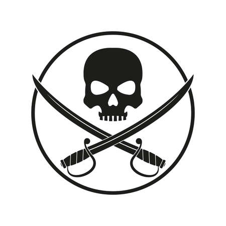 Jolly Roger with crossed swords. Pirate flag emblem with a skull and two sabers or scimitar swords. Vector illustration. Ilustração