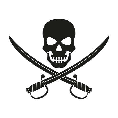 Jolly Roger with crossed swords. Pirate flag emblem with a skull and two sabers or scimitar swords. Vector illustration. Vettoriali