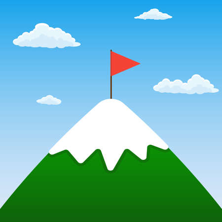 Mountain peak with red flag. Business motivation, challenge, success and goal concept. Vector illustration.