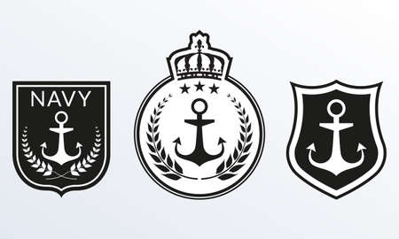 Navy badges set. Marine Patches  collection. Nautical emblems with Shield and Anchor. Vector illustration.