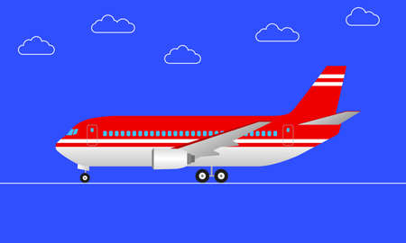 Plane in cartoon style. Side view. Passenger airplane with wheels. Vector illustration.