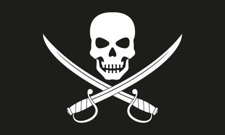 Pirate flag. Jolly Roger with crossed swords. The skull and two sabers or scimitar swords. Vector illustration. Vettoriali