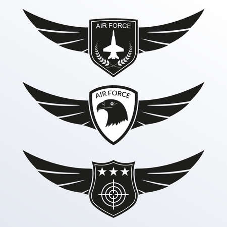 Air Force  with shield and wings. Military badges. Army patches. Vector illustration.
