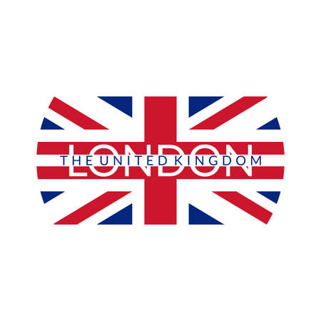 London text. Typography design with England or UK flag. The United Kingdom and London city banner, poster, Tee print, T-shirt graphics with British flag. Vector illustration. Vettoriali
