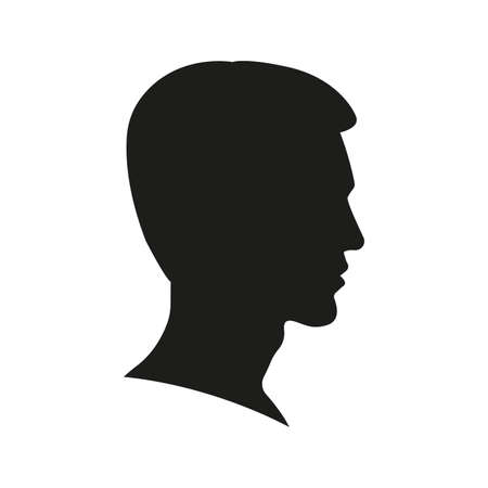 Man face silhouette. Profile view. Young Boy portrait. Male Head icon. Side view. Vector illustration.