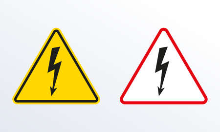 Electrical hazard sign set with lightning or thunder icon. High voltage sign. Caution warning and Danger symbol. Triangle shape. Vector illustration. Ilustração